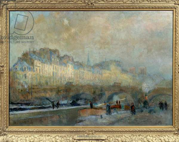 Paris, l'ecluse de la Monnaie, sun d'hiver, or Vue du Pont-Neuf et de l'île de la Cite Painting by Albert Lebourg (1849-1928). 19th century. Sun. 0.815 x 1.155 Musee d'Orsay, Paris - Paris, L'Ecluse de La Monnaie, winter sun, or view of the Pont-Neuf and the Ile de la Cite. Painting by Albert Lebourg (1849-1928).19th century. 0.815 x 1.155. Orsay Museum, Paris
