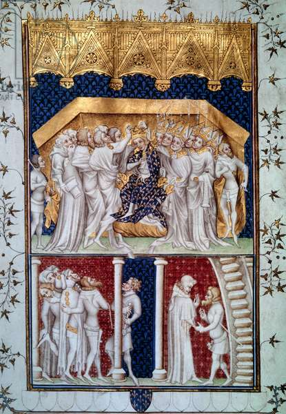 """The coronation of Charles VI (1368-1422) by the peers of France on 16/09/1380. Miniature from Grandes Chronicles de France"""""""" by Jean Fouquet (1420-1481) 15th century Paris, B.N."""