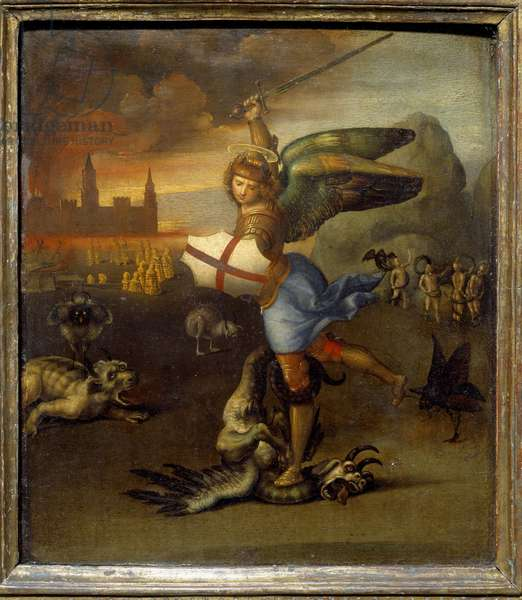 "St. Michael and the Dragon c.1505 Raphael (1483-1520/Italian) Oil on Wood Panel  - """" Saint Michel terrassant the dragon"""""" Painting by Raffaello Sanzio (Raphael) (1483-1520) 1505 Sun. 0,29x0,25 m"