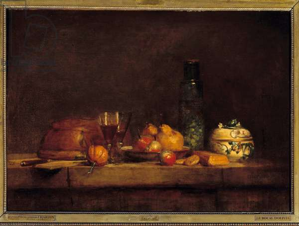 The jar of olives. Painting by Jean Simeon Chardin (1699-1779), 1760. Oil on canvas. Dim: 0.71 x 0.98m.