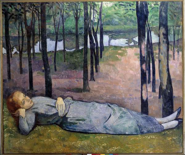 """Madeleine (1871 - 1895) at the wood of love. Portrait of a dreadful woman lying in a wood. Painting by Emile Bernard (1868-1941), 1888. Oil on canvas. Dim: 1,38 x 1,63m. Paris, Musee d'Orsay. - Madeleine (1871-1895) in the Bois d'Amour also called """""""" Portrait of my sister"""""""". A dreamy woman lying in a wood. Painting by Emile Bernard (1868-1941), 1888. Oil on canvas. 1.38 x 1.63 m. Orsay Museum, Paris"""