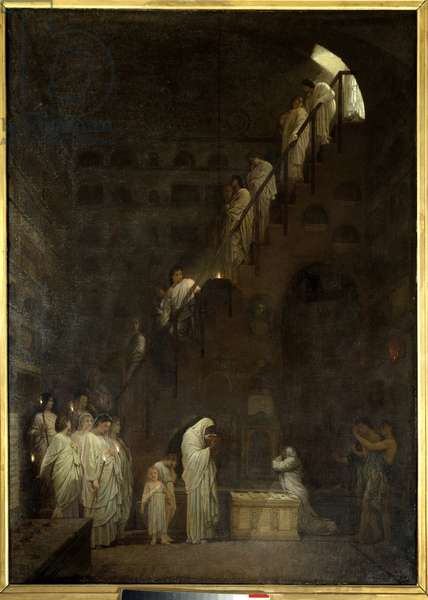 Funeral at the Columbarium of the Cesars House in Rome, Porte Capene in Rome. Painting by Louis Hector Leroux (1829-1900), 1864. Oil on canvas. Dim: 1,41 x 1,01m. Paris, Musee d'Orsay.