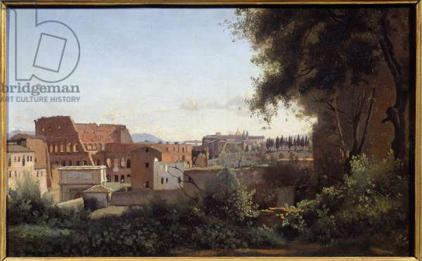 View of the Colisee (Colosseo) in Rome from the Farnese Gardens Painting by Camille Corot (1796-1875) 1826 Sun. 0,3x0,49 m