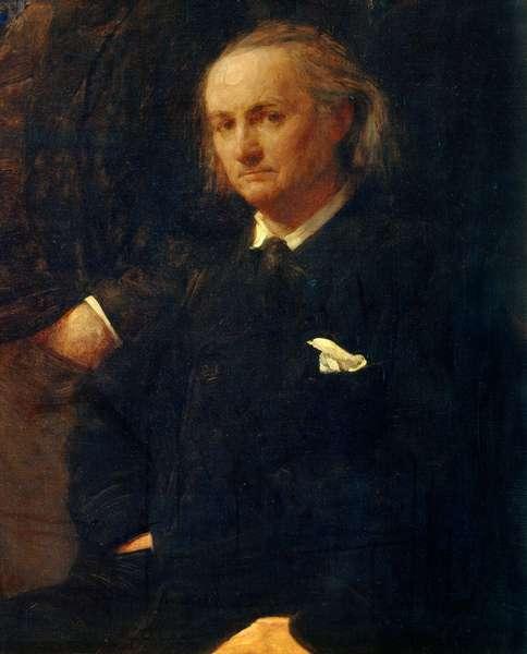 """Portrait of Charles Baudelaire - detail of: """""""" Homage to Eugene Delacroix"""""""" Painting by Henri Fantin Latour (Fantin-Latour, 1836-1904) 1864. Dim. 1,60 x 2,50 m. Paris, Musee d'Orsay"""