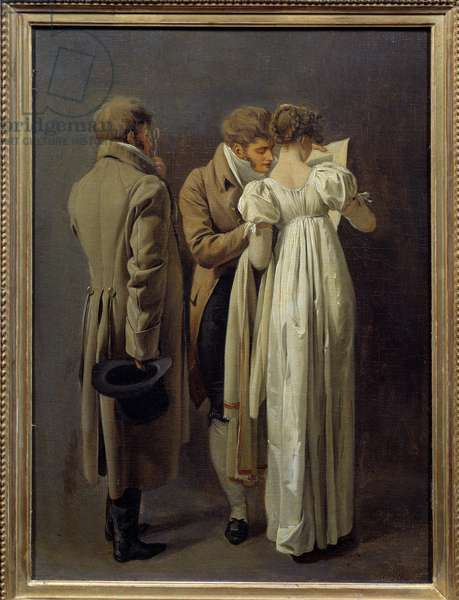 Print lovers Young people vetus in the fashion of the First Empire contemplate a print. Painting by Louis Leopold Boilly (1761-1845) 1810. Sun 0,32x0,24 m
