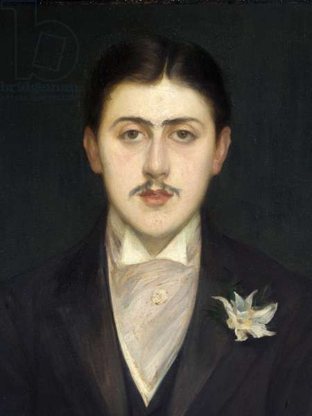 detail of the Portrait of Marcel Proust (1871-1922), French writer. Painting by Jacques Emile (Jacques-Emile) Blanche (1861-1942), Oil On Canvas, 1892. Paris, Musee d'Orsay.
