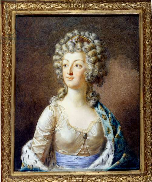 Portrait of Marie Antoinette (1755-1793) Queen of France. Her hairstyle e ete frizz (hair curls) Painting by Alexandre Kucharski (1741-1819) 18th century Private collection