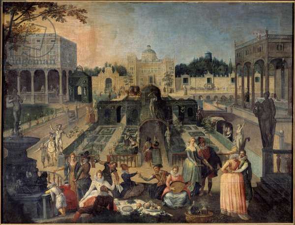 A party in the park of the Duke of Mantua Picnic, music, gallant scenes in the gardens of the palace of the Duke of Gonzaga (Gonzaga). Painting by Sebastien Vrancx (1573-1647) 17th century Sun. 1,42 x 1,88 m Rouen musee des Beaux Arts