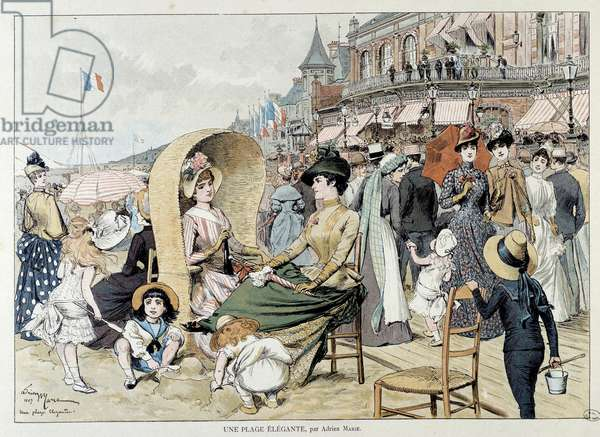 An elegant beach. Charming ladies with their children among a crowd entertaining on a beach in France. Engraving by Adrien Marie (1848 - 1891), 1887. Paris, Musee Carnavalet