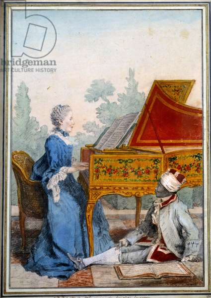 Portrait of Mademoiselle Desgots of Saint Domingue at the harpsichord and her slave Laurent Watercolour by Louis Carrogis Carmontelle (1717-1806) 1766 Paris, Musee Carnavalet