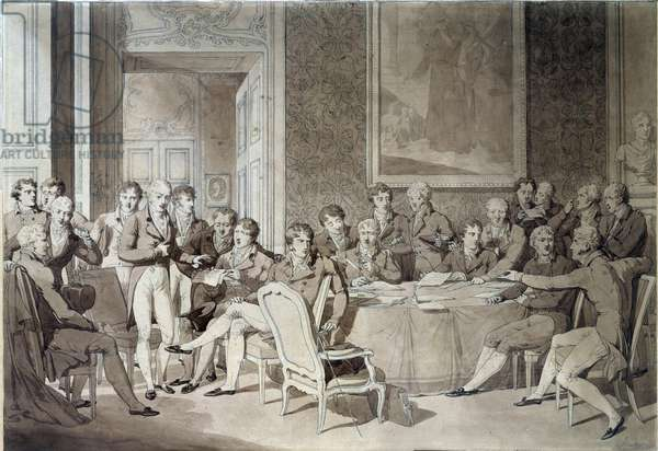The Vienna Congress (1814-1815) following the Paris Treaty in 1814. It reunited the eight world powers and sought to redefine the borders after the fall of the Empire of Napoleon I. Alexander I, Tsar of Russia; H.R. Stewart, Castlereagh; Francois Joseph I, Emperor of Austria; Frederic William III, King of Prussia; Karl August, Prince of Hardenbergh; Wilhelm von Humboldt (William of Humboldt, 1767-1835); Prince of Metternich, Winneburg; Earl of Nesseldt Rode; Charles Maurice (Charles-Maurice) by Talleyrand Perigord, Cardinal Consalvi, Cardinal Secretary of State, of the Vatican. Ink and pen by Jean Baptiste Isabey (1767-1855) Sun. 0,46x0,66 m Paris, musee du Louvre