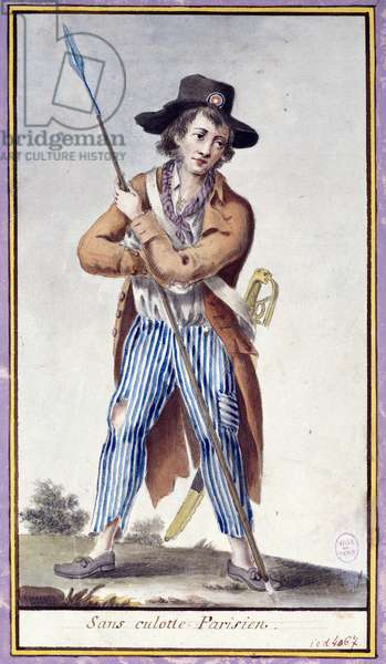 French Revolution: the Parisian without panties has the spades. Anonymous print around 1789. Paris, Musee Carnavalet