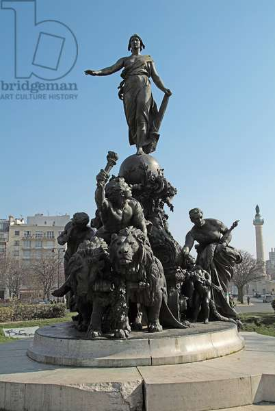 The tank of the nation or triumph of the Republic. Symbol of universal suffrage. Standing on a tank fired by two lions (symbol of popular force), Marianne is surrounded by the allegories of Labour, Justice, Peace and abundance. Around it, the presence of children reminds the pedagogic mission of the Republic. The genie of Liberte drives the coupling. Bronze sculpture by Aime Jules Dalou (1838-1902). Paris, Place De La Nation