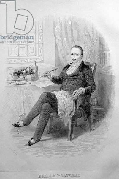 "Portrait of Anthelme Brillat - Savarin (Brillat-Savarin) French magistrate, gastronome and writer, (1755-1826). Engraving by Bertall de 1840 in ""La Physiologie du gout"""" (1826) Paris musee Carnavalet"
