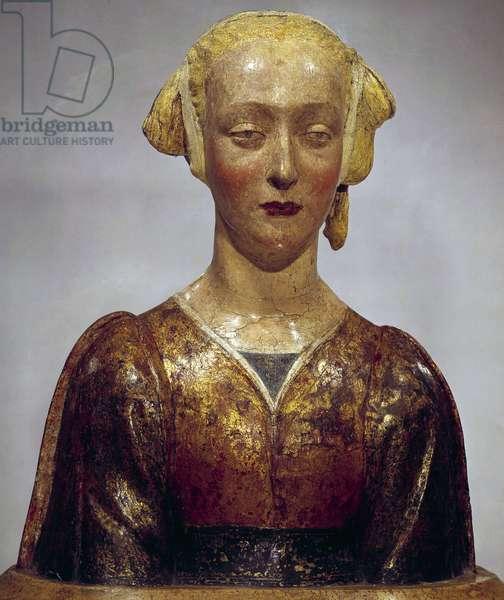 "Bust of Saint Constance called """" the beautiful Florentine"""" Polychrome wood sculpture of the Florentine School. 1475-1500. Sun 0,55 m Paris, Musee du Louvre"