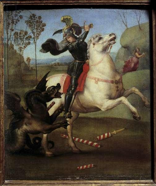 "Saint George Fighting with the Dragon Raphael (1483-1520/Italian) Oil on Wood Panel  - """" Saint Georges struggling with the dragon"""""" Painting by Raffaello Sanzio (Raphael) (1483-1520) 1505 Sun. 0,29x0,25 m"