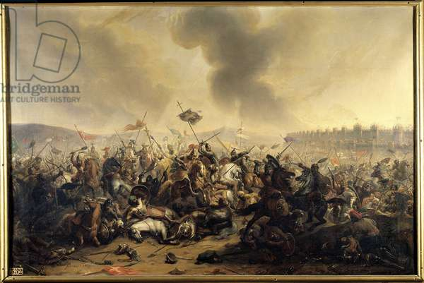 Battle committed by Sultan Kilij-Arslan against the crusaders besieging the city of Nicaea in 1097. Painting, 1839.
