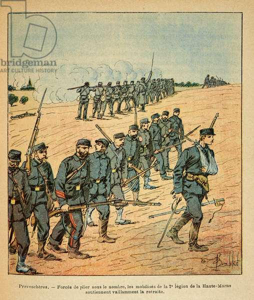 The Eastern Armee of Eugene Sergeant, known as Grenest, illustrated by Louis Bombled (1862-1927) (Franco-German War; campaign of 1870 -1871): In Provencheres, the mobiliises of the 2nd Legion of the Upper Marne forced to retreat under the number of enemies, Private Collection