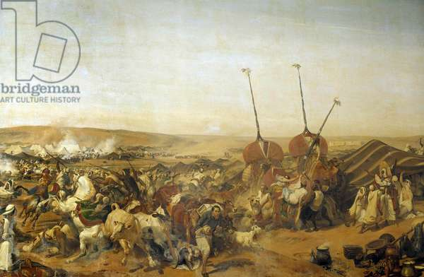 """Conquete of Algeria (1830-1847): """""""" Capture of the Smalah (Smala) of Abd el Kader (Abd-el-Kader or ibn Muhyi al-Din al-Hasani) (1807-1883) by the Duke of Aumale in Taguin, 16/05/1843"""" Detail of the painting by Horace Vernet (1789-1863) 19th century ee of the castle"""