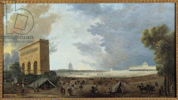 """French Revolution: """""""" Fete de la Federation Nationale celebree au Champ de mars à Paris le 14 juillet 1790"""""""" Painting by Hubert Robert (1733-1808). 1790 Sun. 0,52x0,96 m"""