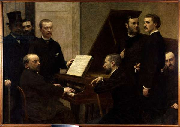Around the piano Seated from left to right, Emmanuel Chabrier, Edmond Maitre and Amedee Pigeon. Standing, Adolphe Julien, Arthur Boisseau, Camille Benoit, Antoine Lascoux and Vincent d'Indy. Painting by Henri Fantin Latour (1836-1904) 1885 Sun. 1,6x2,22 m Paris, musee d'Orsay