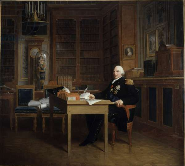 Portrait of Louis XVIII (1755-1824) has his office at the Tuileries, meditating on the Charter Painting by Francois Gerard (1770-1837) after Marigny. 19th century. Dim. 2,7x3,1 m.  - Portrait of Louis XVIII (1755-1824) meditating over the Charter seated at his desk in The Tuileries. Painting by Francois Gerard (1770-1837) after Marigny. 19th century. 2.7 x 3.1 m. Castle Musem, Versailles, France
