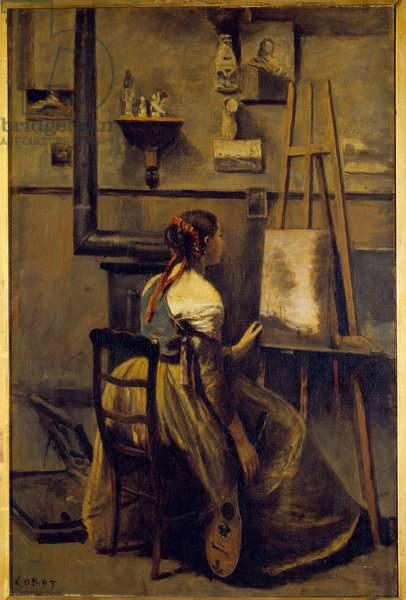 L'atelier de Camille Corot, young woman sitting in front of an easel Painting by Camille Corot (1796-1875) 19th century Sun. 0,63x0,42 m  - Workshop of Camille Corot, young woman sitting in front of an easel. Painting by Camille Corot (1796-1875), 19th century. 0.63 x 0.42 m. Louvre Museum, Paris