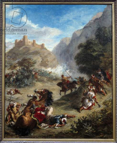 Battle of Arabs in the mountains or perception of Arab tax. Painting by Eugene Delacroix (1798-1863), 1863. h s/t. Sun: 0,92 x 0,74m. Washington, National Gallery Of Art