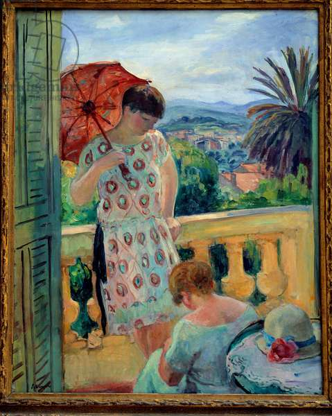 Two women on a balcony or on the balcony, in view of the Esterel. Painting by Henri Lebasque (1865-1937) 1925-1926, oil on canvas, 92.5 × 65 cm. Lyon, musee des Beaux Arts - Two women on a balcony or Balcony with a view on the Esterel. Painting Henri Lebasque (1865-1937), 1925-1926, oil on canvas 92,5 x 65 cm. Fine Arts Museum, Lyon, France