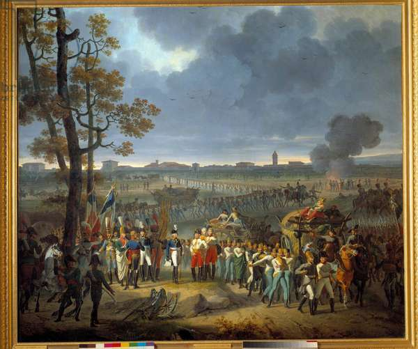 the surrender of Mantua (February 2, 1797): General Wurmser surrendered to General Serurier Defeat of the Austrian army during the first Italian campaign (1796-1797). Painting by Hippolyte Lecomte (1781-1857). 19th century. Dim. 1,6x2,5 m.  - Surrender of Mantua (Feb. 2, 1797): The General Wurmser negociates capitulation with General Serurier. Defeat of the Austrian army during the first Italian campaign (1796-1797). Painting by Hippolyte Lecomte (1781-1857). 19th century.1,6 x 2, 5 m.