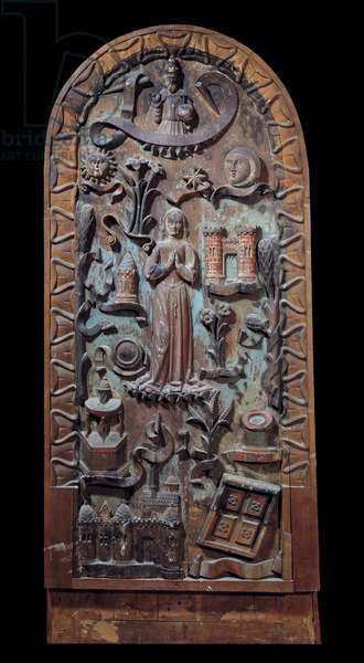 Praise of the Virgin Carved wood panel. 16th century Chartres, Musee des Beaux Arts