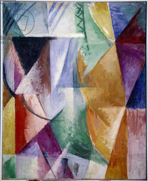 A window or design for three windows. Painting by Robert Delaunay (1885-1941), 1912, 1.11 x 0.9 m. Oil on canvas. Paris, musee national d'art moderne - A window or study for three windows. Painting by Robert Delaunay (1885-1941), 1912. Oil on canvas, 1.11 x 0.9 m. Paris, National Museum of Modern Art