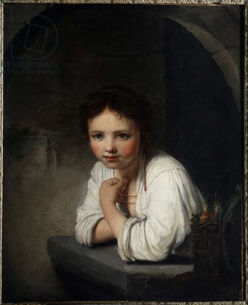 Portrait of a Girl in the Window Painting by Jean Baptiste Santerre (1651-1717) 18th century Orleans musee des Beaux Arts