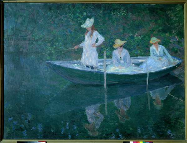 Boat in Giverny or in Norwegian. The daughters of Madame Hoschede, second wife of the artist, Germaine, Suzanne and Blanche, circa 1887. Painting by Claude Monet (1840-1926), Oil on canvas (0,98 x1,31 cm). Musee d'Orsay - The Boat at at Giverny. Portraits of madame Hoschede's daughters, Germaine, Suzanne and Blanche in 1887. Painting by Claude Monet (1840-1926). Oil on canvas (0.98 x 1.31 cm). Orsay Musem, Paris