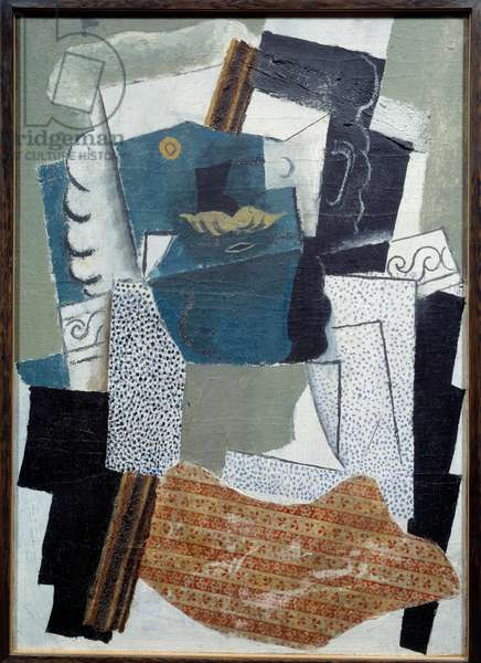 Man has a mustache. Painting by Pablo Picasso (1881-1973), 1914. Oil and textile prints glue on canvas. Paris, Musee Picasso.
