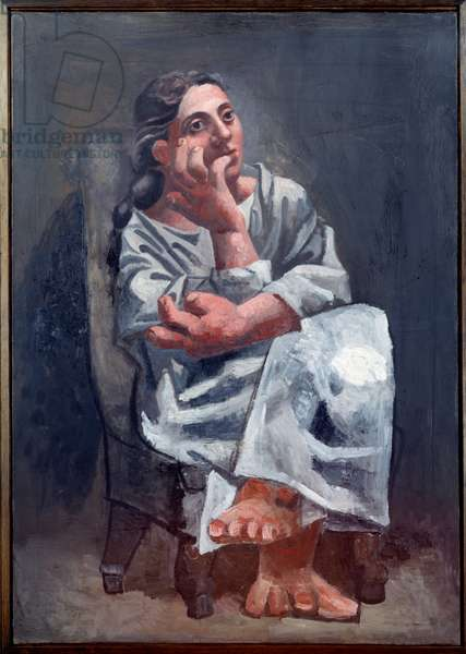 Sitting woman. Painting by Pablo Picasso (1881-1973), 1920. Oil on canvas. Dim: 0.92 x 0.65m. Paris, Musee Picasso.