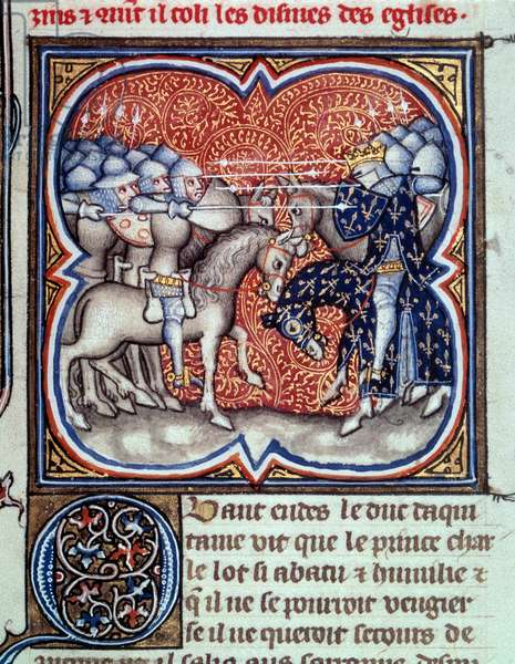 """Charles Martel (688-741) fighting the Saracens at Poitiers in 732 Miniature from """""""" Les grandes chronicles de France"""""""" by Jean Fouquet (1420-1481) 15th century Paris, B.N."""