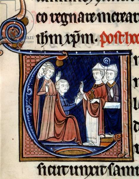 """Order of the Consecration and Coronation of the Kings of France: The ark anoints the king's hands. Miniature taken from """""""" L'Ordo du corre"""""""""""" of 1250 (Folio 19) enluminated by the Master of Life of Saint-Denis and Le Maitre de Guignes. BN, Paris"""