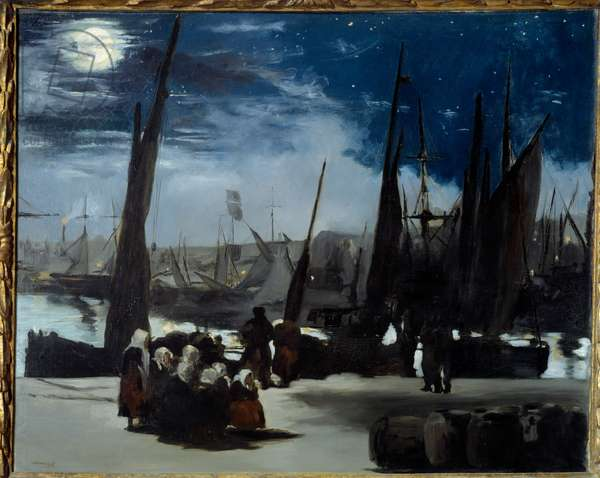 Moonlight on the port of Boulogne Painting by Edouard Manet (1832-1883) 1869 Sun. 0,82x1,01 m Paris, musee d'Orsay