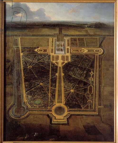 Perspective view of a castle and a park a la francaise Painting by Pierre Denis Martin (1663-1742) 1711 Rouen, Musee des Beaux Arts