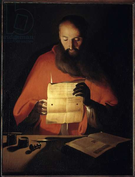 Saint Jerome reading. Painting by Georges De La Tour (1593-1652), 17th century. Oil on canvas. Dim: 0.95 X 0.72m. Nancy, Musee Historique Lorrain - Saint Jerome reading. Painting by Georges de La Tour (1593-1652), 17th century. Oil on canvas. 0.95 x 0.72 m. Historical Museum of Lorraine, Nancy, France