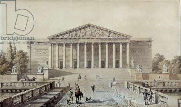 Project for the National Assembly or Palais Bourbon, Palais du Corps Legislatif Drawing by Evariste Fragonard (1780-1850) 19th century Paris, Palais Bourbon