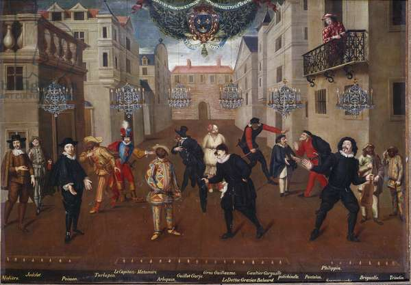 """Commedia dell'Arte: """""""" French and Italian jokers for 60 years and more: (from left to right) Comedian and playwright Moliere in the costume of Arnolphe, Jodelet, Poisson, Tarlupin, Captain Matamore, Harlequin, Guillot Gorju, Guillaume Gros, Doctor Grazian Balourd, Gaultier Garguille, Policlipphinelle, Pants, Philipphinelle, Scaramouche, Briguelle and Trivelin"""""""" painting attributed to Verio, 1670, oil on canvas, 0,96x1,38 m - Paris, Comedie francaise - Commedia dell'Arte: French and Italian jesters. From left to right: the actor and playwright Moliere in the costume of Arnolphe, Jodelet, Poisson, Tarlupin, Captain Matamoros (Matamore), Harlequin (Harlequin), Guillot Gorju, Gros Guillaume, Doctor Grazian Balourd, Gaultier Garguille, Punch (Polichinelle), Pantalone (Pants), Filipino (Filipino (Filipino), Amouche, Briguelle and Trivelin. Anonymous painting of the French School, circa 1670. Comedie Francaise, Paris"""