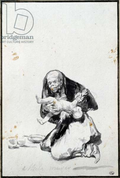 The bad woman (Mala mujer). The wicked woman. Anthropophagy scene, a witch devours a child. Grey wash by Francisco Goya y Lucientes (1746-1828) Sun. 0,21x0,14 m Paris, musee du Louvre