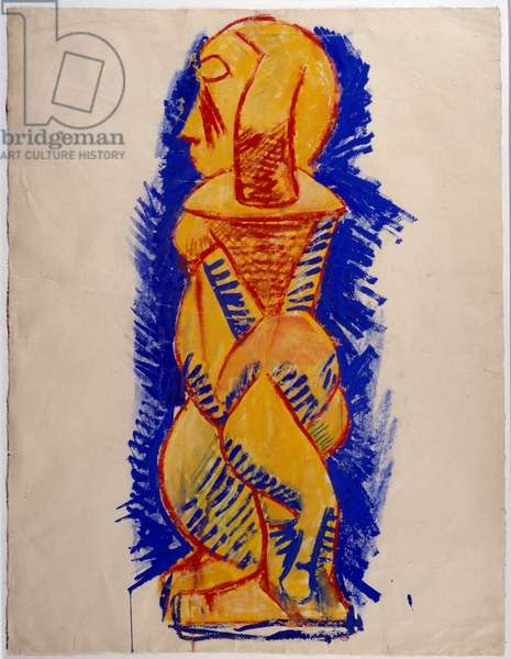 Nude standing profile. Drawing by Pablo Picasso (1881-1973), 1908. Gouache and pastel. Dim: 0,62 x 0,48m. Paris, Musee Picasso.