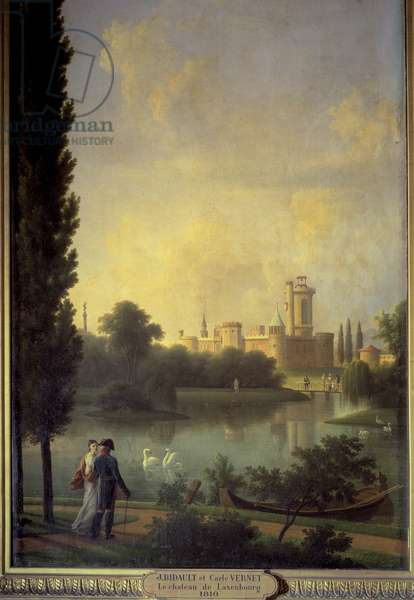 The castle of Laxembourg (Austria), in the foreground the emperor of Austria and the archiduchess Marie Louise. Painting by Joseph Bidault (1758-1846), 1810. Oil on canvas. Paris, Musee Marmottan