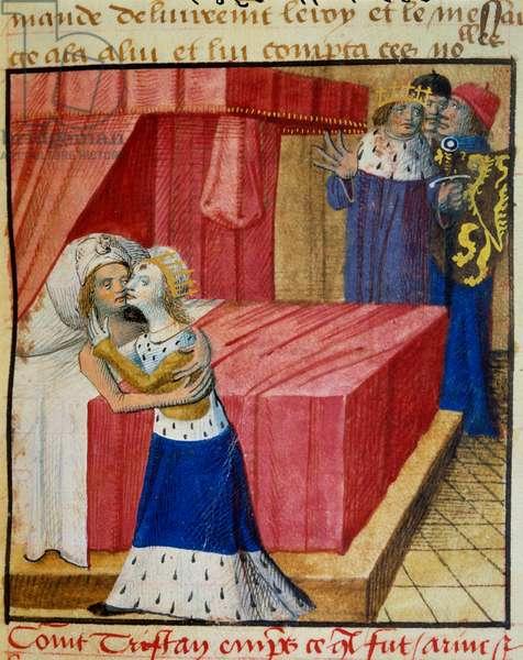 "The death of lovers Queen Iseut (or Iseult) kisses her lover. Miniature taken from """" Romanesque du Chevalier Tristan et de la reine Yseult"""" by Gassien de Poitiers enluminated by Everard de Espinques (Evrard d'Espinques) (15th century). Chantilly, Conde Museum"