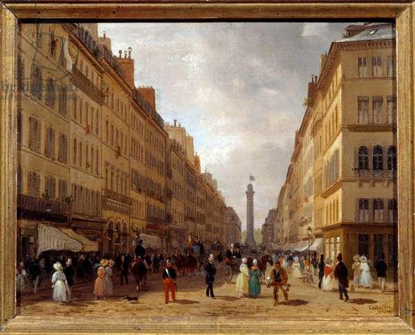 View of the rue de la Paix in Paris painting by Giuseppe Canella (1788-1847) 1830 Sun. 0,31x0,16 m Paris, Musee Carnavalet - View of the Rue de la Paix in Paris. Painting by Giuseppe Canella (1788-1847), 1830. 0.31 x 0.16 m. Carnavalet Museum, Paris