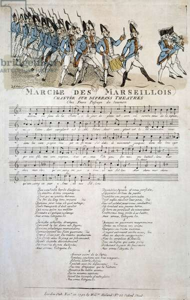 "French Revolution: score of ""La marche des Marseillois"""" by Claude Balbastre (1724-1799), variation on the theme of the Marseillaise, the French national anthem. November 1792 Paris, Bibliotheque de l'Arsenal"