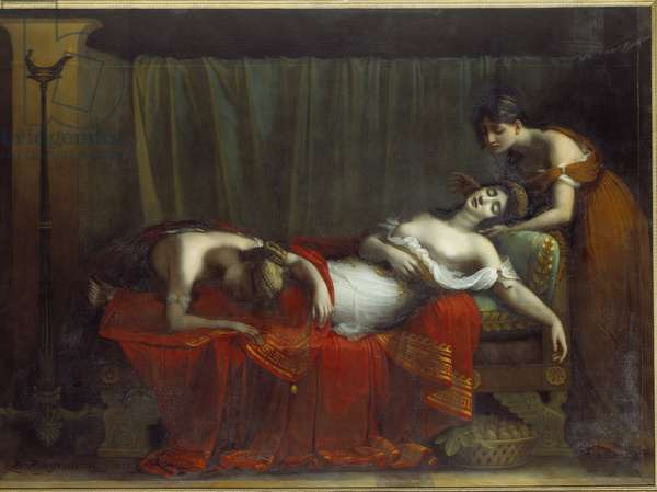 Cleopatre's Death. Painting by Charles Boulanger de Boisfremont (1773-1838), 1828. Oil on canvas. Dim: 1,00 X 1,40m. Rouen, Musee des Beaux Arts.